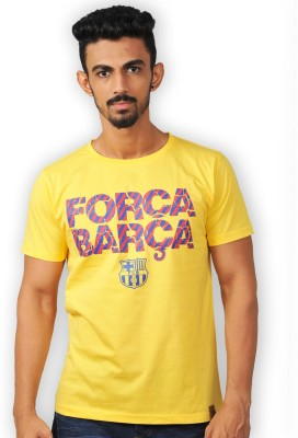 FC Barcelona Printed Men's Round Neck Yellow T-Shirt