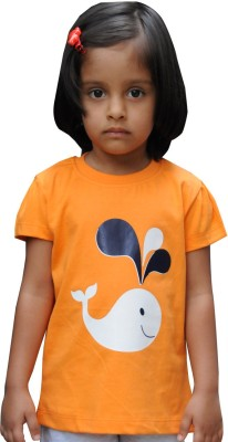 Snowflakes Printed Baby Girl's Round Neck Orange T-Shirt