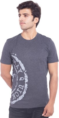 Nimbus Printed Men's Round Neck Grey T-Shirt