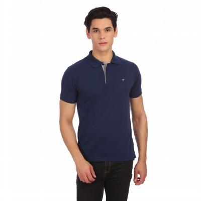 Neva Self Design Men's Polo Neck Dark Blue T-Shirt