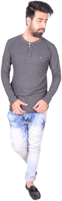 Zrestha Solid Men's Henley Grey T-Shirt