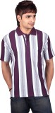 Dearclass Striped Men's Polo Neck Purple...
