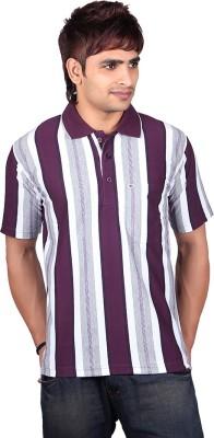 Dearclass Striped Men's Polo Neck Purple T-Shirt