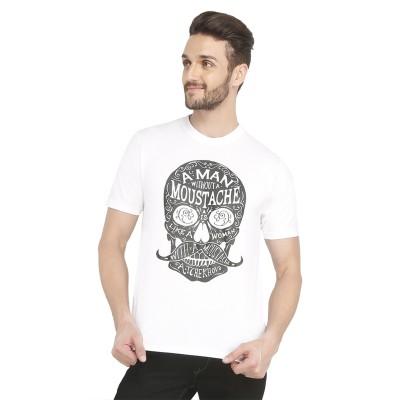 Castor Printed Men's Round Neck White T-Shirt