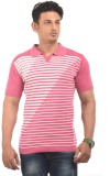 AMX Striped Men's Polo Neck Pink T-Shirt