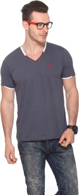 CLUB YORK Solid Men,s V-neck Grey T-Shirt