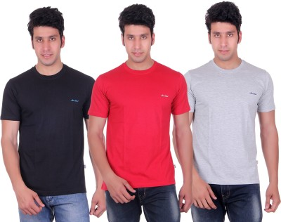 Montreal Solid Men,s Round Neck Black, Red, Grey T-Shirt