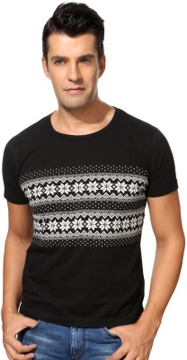 Peter England Printed Men's Round Neck Brown T-Shirt