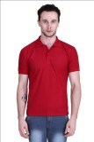 Gdivine Solid Men's Polo Neck Maroon T-S...