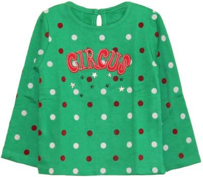 My Little Lambs Graphic Print Girl's Round Neck Dark Green T-Shirt