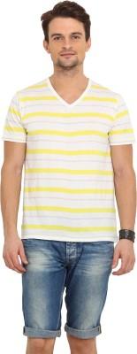 Northern Lights Striped Men's V-neck Yellow, Grey T-Shirt