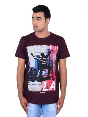 IPG Printed Men's Round Neck Maroon T-Shirt