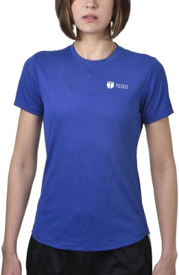 Tego Solid Women's Round Neck Blue T-Shirt