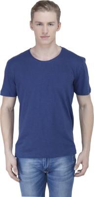 Sass Solid Men's Round Neck Dark Blue T-Shirt