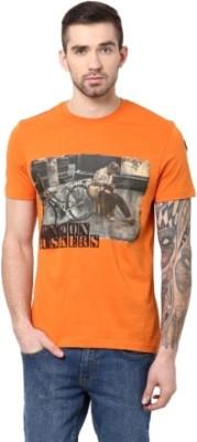 London Bridge Solid Men's Round Neck Orange T-Shirt