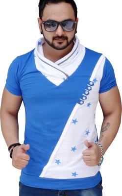 Black Collection Printed Men's Flap Collar Neck Blue T-Shirt