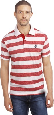 Leo Striped Men's Polo Neck Red T-Shirt