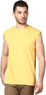 Inkovy Solid Men's Round Neck Yellow T-Shirt