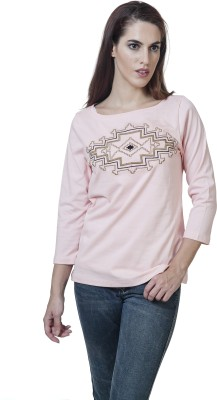 Rute Embroidered Women's Round Neck Pink T-Shirt