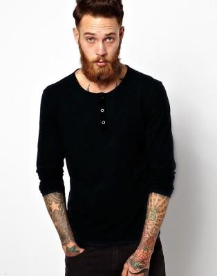 LLO Fashions Printed Men,s Henley Black T-Shirt