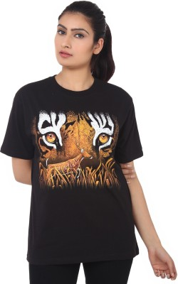 Wild Collection Animal Print Women's Round Neck T-Shirt