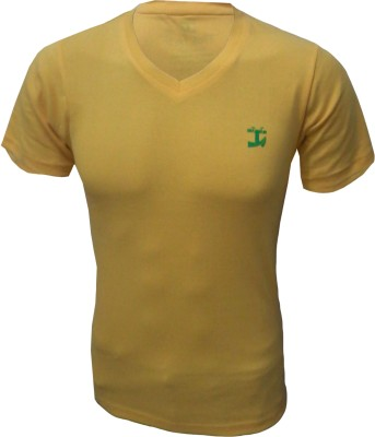 Tick Lish Solid Men's V-neck Yellow T-Shirt