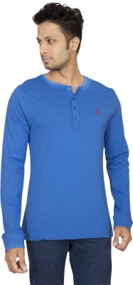 Red Line Solid Men's Henley Blue T-Shirt