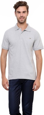Lemon & Vodka Solid Men's Polo Neck Grey T-Shirt