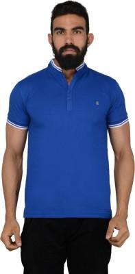 Gotit Solid Men's Fashion Neck Blue T-Shirt
