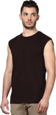 Inkovy Solid Men's Round Neck Brown T-Shirt