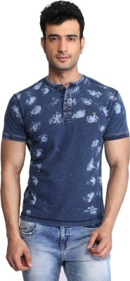 Glabrous Printed Men's Round Neck Blue T-Shirt