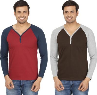 Jangoboy Solid Men,s V-neck Maroon, Brown T-Shirt