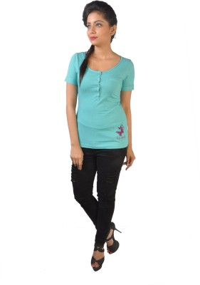 No Code Solid Women's Round Neck Light Green T-Shirt