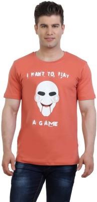 Monkie Printed Men's Round Neck Orange T-Shirt