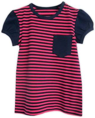 ATUN Striped Girl's Round Neck Pink T-Shirt