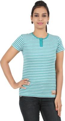 Recca Striped Women,s Round Neck Green T-Shirt