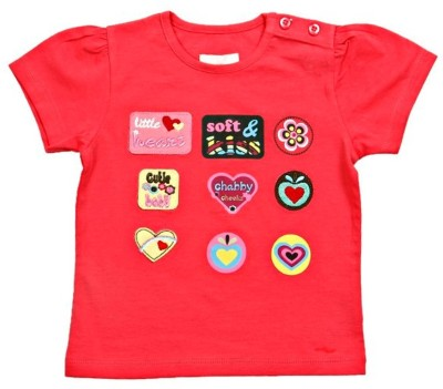 JusCubs Solid, Printed Boys Round Neck Red T-Shirt