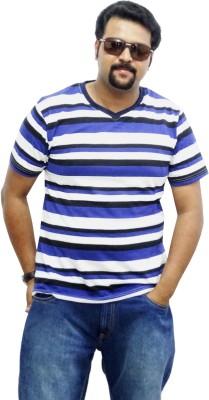 East West Striped Men's V-neck Blue, Black T-Shirt