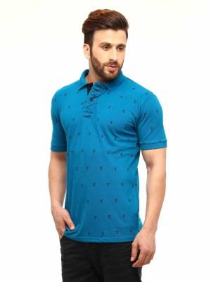 Gritstones Printed Men's Polo Blue T-Shirt