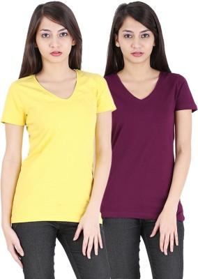 Avarnas Solid Women's V-neck T-Shirt