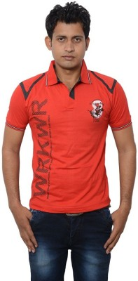 Lampara Solid Men's Polo Neck Red T-Shirt