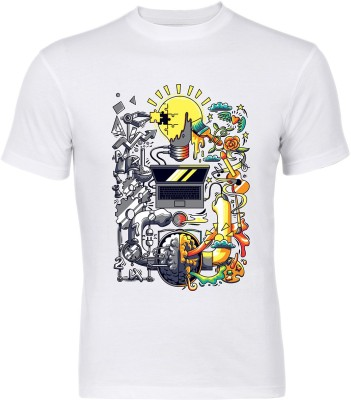 Graphic6 Printed Men's Round Neck White T-Shirt