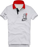 Vimanika Solid Men's Polo Neck White T-S...