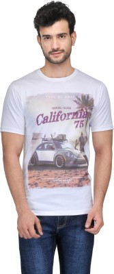 Ausy Printed Men's Round Neck White T-Shirt