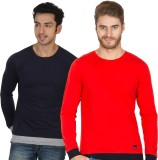 Rigo Solid Men's Round Neck Blue, Red T-...