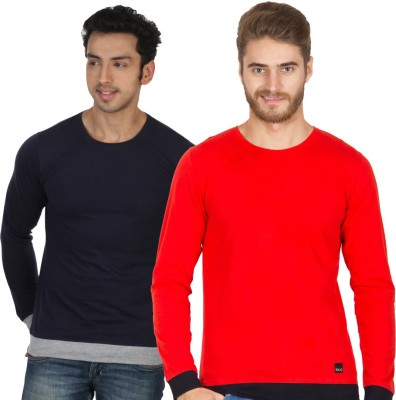 Rigo Solid Men's Round Neck Blue, Red T-Shirt