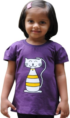 Snowflakes Solid Baby Girl's Round Neck Purple T-Shirt