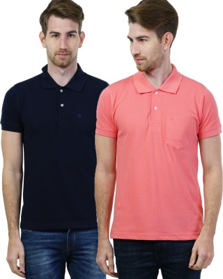 SEABOARD Solid Men's Polo Neck Dark Blue, Pink T-Shirt