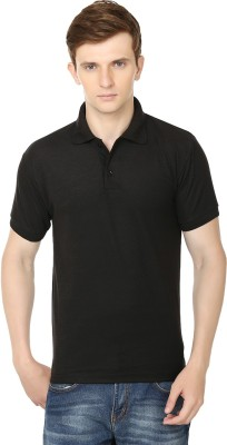 Club Vintage Solid Men's Polo Neck Black T-Shirt