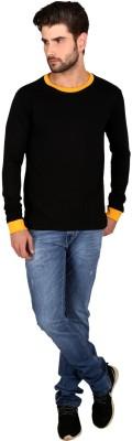 Attabouy Solid Men's Round Neck Black T-Shirt